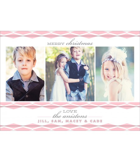 Pink and Grey Diamonds Geometric Printable Holiday Photo Card